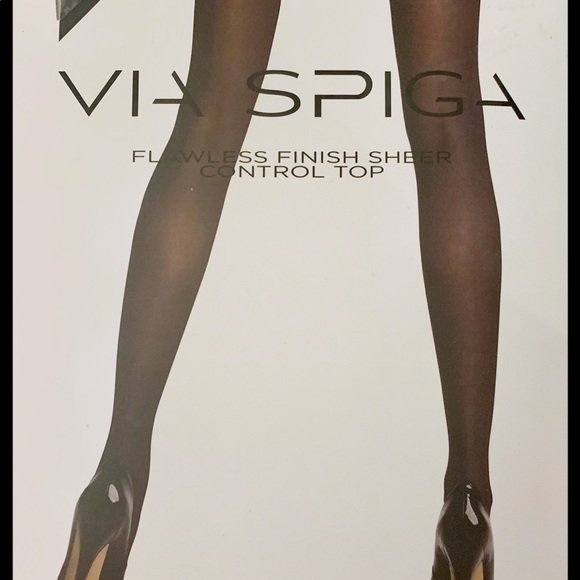 Via Spiga Pantyhose Black Flawless Finis Sheer Control Top